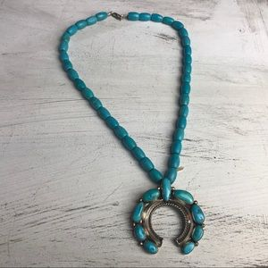 Jewelry - Turquoise and sterling Squash Blossom Necklace